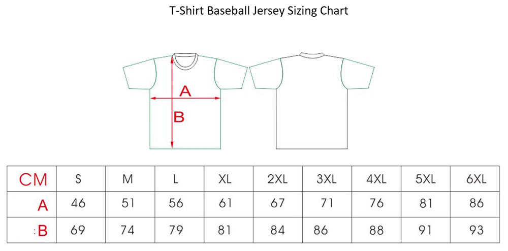 Image of t-shirt sizing chart